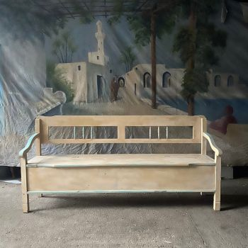 Antique Settle in Original Paint Cream and Blue Paint John Cornall