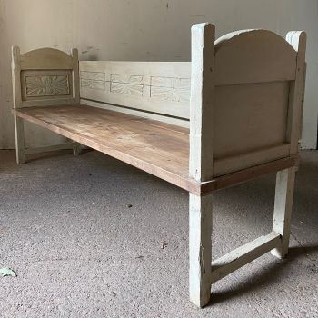 Antique Folk Bench With Carved Panels