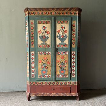 Antique Box Bench With Birds And Flowers