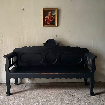 Antique Pine Settle In Warm Black John Cornall
