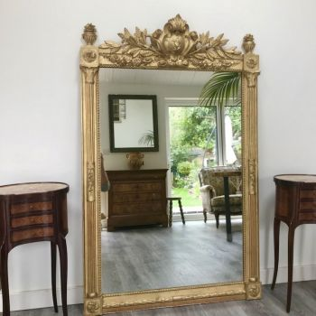 Antique Victorian French 19th Century Gilt Overmantle Mirror Original
