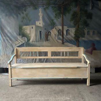 Antique Bench In Original Cream And Blue Paint