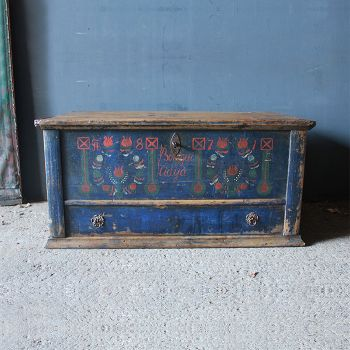 Antique Blue Painted Marriage Chest