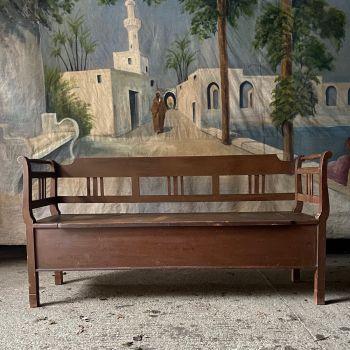 Antique Box Settle In Original Warm Brown Paint
