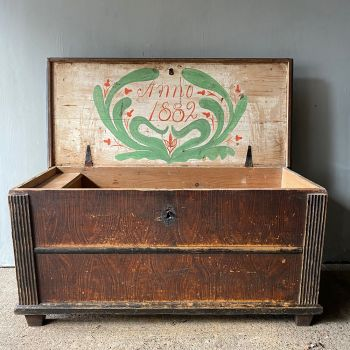Antique Pine Dowry With Original Grain Paint & Date