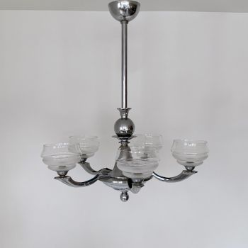 Art Deco Chromed Chandelier With Textured Glass Shades
