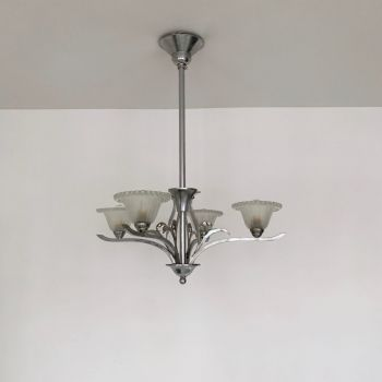 Art Deco Silver Nickelled Chandelier With Frosted Glass Shades