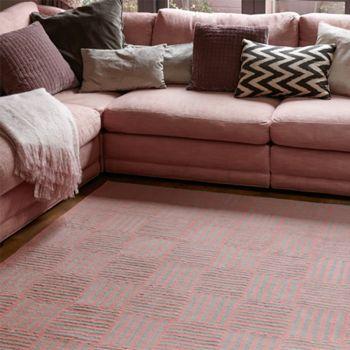 Basketcase rug pink and grey