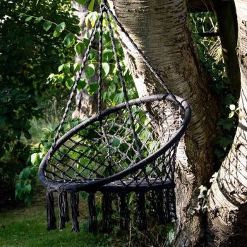 Black Metal Rope Hanging Chair