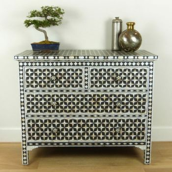 Vintage Black Mother of Pearl Indian Style Star Chest
