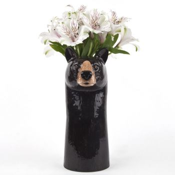 Black Bear Flower Vase Quail Ceramics