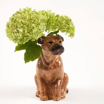 Border Terrier Flower Vase Quail Ceramics