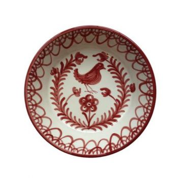 Spanish Ceramic Lebrillo Bowl with Burnt Sienna Bird Design
