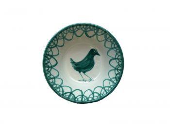 Spanish Ceramic Lebrillo Small Bowl with Green Bird Design