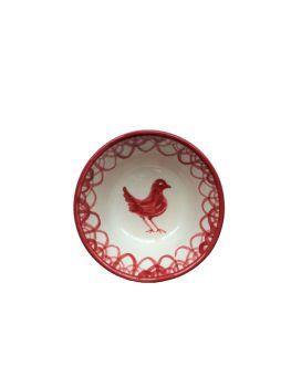 Spanish Ceramic Lebrillo Medium Bowl with Burnt Sienna Bird Design