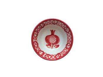 Spanish Ceramic Lebrillo Bowl with Burnt Sienna Pomegranta Design