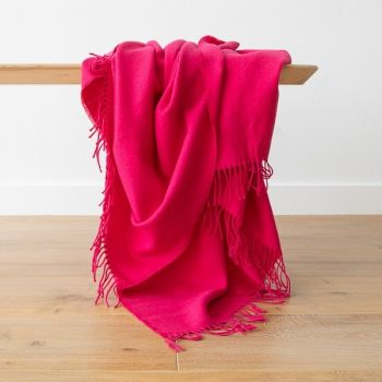 Bright Pink Baby Alpaca Throw
