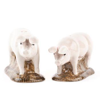 British Lop-Eared Pig Salt & Pepper Shakers Quail Ceramics