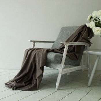 100% Cashmere Throw Natural Brown