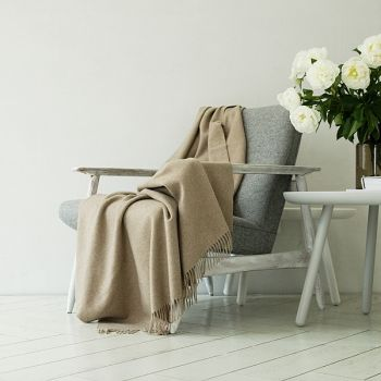 Latte light brown 100% Cashmere Throw