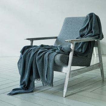 100% Lighter Cashmere Throw Grey