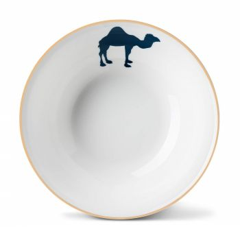 Camel China Bowl with Gold Rim