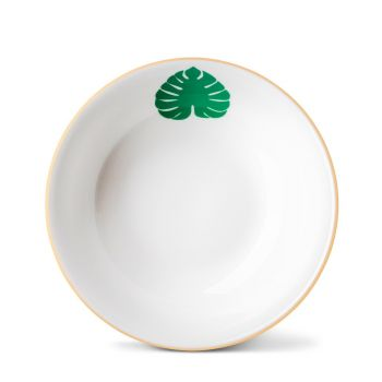 Tropical Leaf Cereal Bowl With Gold Rim