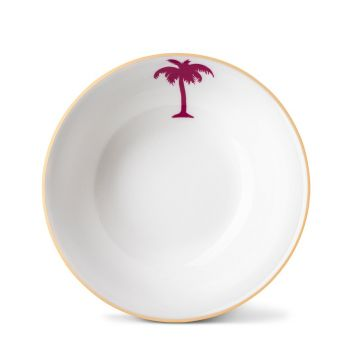 Palm Tree Cereal Bowl With Gold Rim