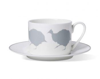 Guinea Fowl Coffee Cup & Saucer With Stone Grey Rim Alice peto
