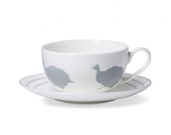 Guinea Fowl Breakfast Cup And Saucer With A Stone Grey Striped Rim alice peto