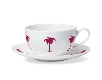 breakfast cup and saucer alice peto cerise palm trees