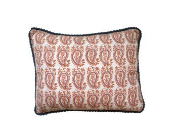 Orange Gita Paisley Block Print Cushion