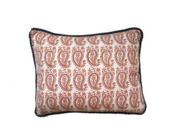 Orange Gita Paisley Block Print Cushion