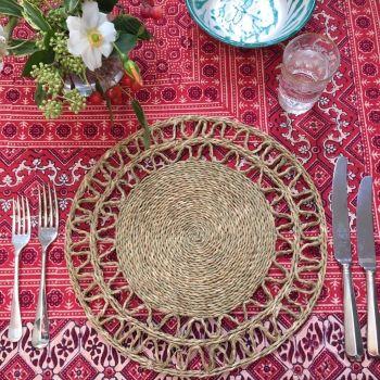red and green Lutindzi grass placemat Sarah K