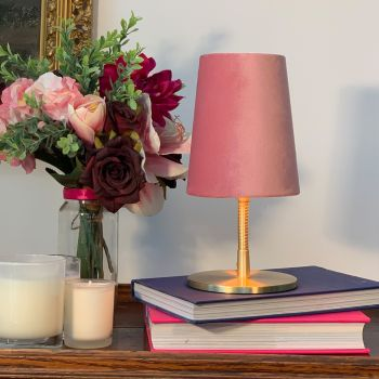 Brass and Velvet Lamp in Dusty Pink