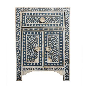 Dark Blue Mother of Pearl Indian Style Bedside Cupboard