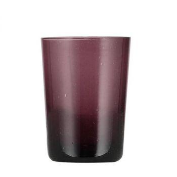 Handmade Hand Blown Bubble Glass Unique Tumbler Cup Violet Purple