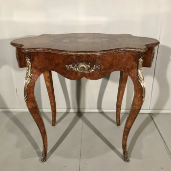 French Burr Walnut & Marquetry Centre Table