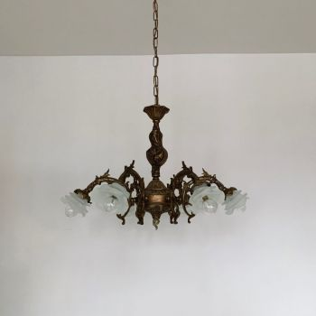 Decorative French Brass Downlighter Chandelier With Frosted Shades