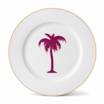 Palm Tree China Dinner Plate with Gold Rim