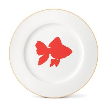 Goldfish Dinner Plate With Gold Rim