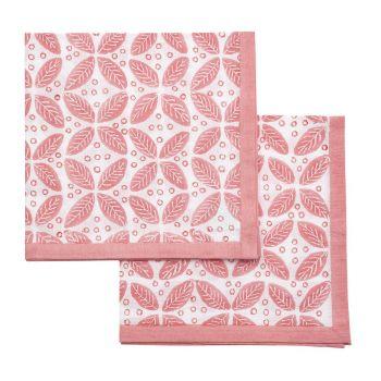 blue leaf block print cotton napkin Sarah K