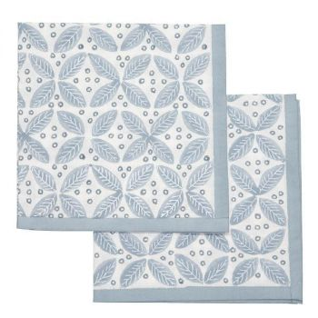 blue leaf block print cotton napkin Sarah K