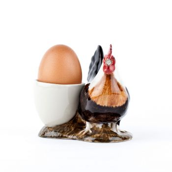Light Sussex Chicken with Egg Cup Quail Ceramics