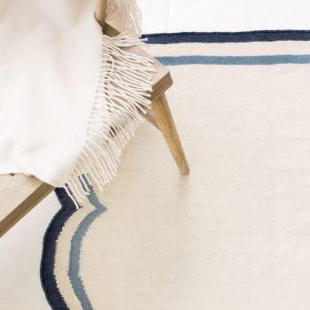 Flat Woven Rug Scallop Blue, Jennifer Manners