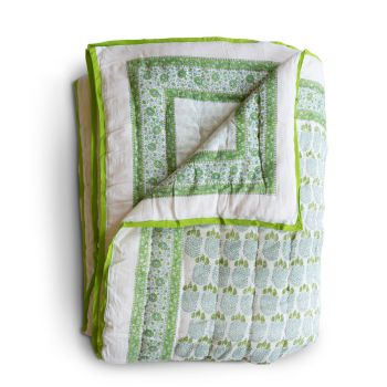 Bumble Quilt in Green with Aqua