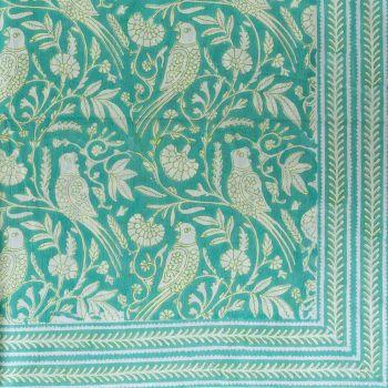 Parrot Tablecloth in Aqua