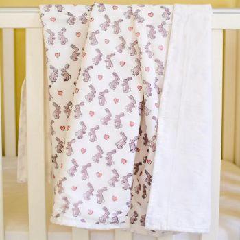 Pink Bunny Cotton Baby Blanket Sarah K