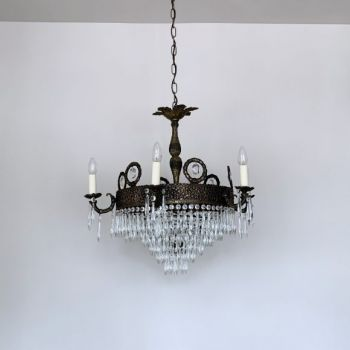 Early 1900s Large French Waterfall Chandelier