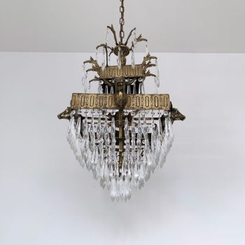 Early 1900s Square Polished Brass Stag Waterfall Chandelier
